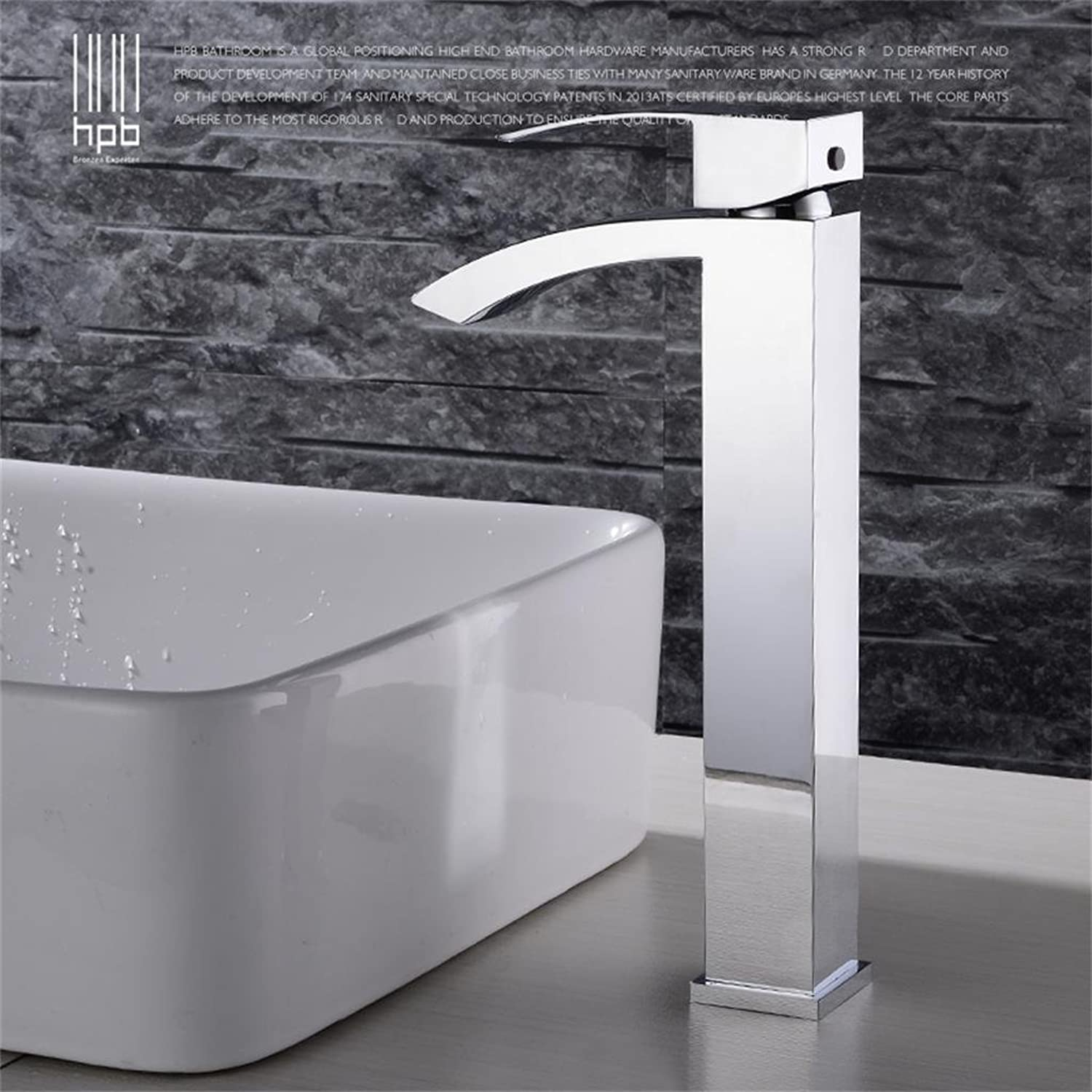 TRRE-All copper hot and cold waterfall basin faucet heightening platform basin taps