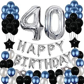 40th Birthday Decorations,40 Birthday Balloons Party Supplies Happy Birthday Banner Latex Balloons Foil Star Balloons Blue Black (81PCS)