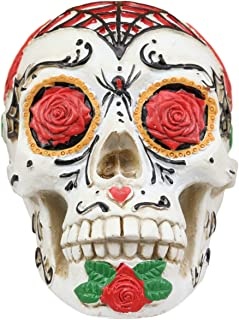 Ebros White Sunflower Floral Day of The Dead Sugar Skull with Eyes of Red Roses Statue 5