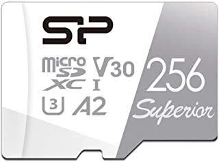 Silicon Power 256GB R/W up to 100/ 80MB/s Superior Pro Micro SDXC UHS-I (U3), V30 4K A2, High Speed MicroSD Card with Adapter