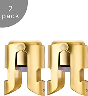 OWO Champagne Stopper, Stainless Steel Bottle Plug Sealer for Sparkling Wine, Superior Leak-Proof Bubble Retaining Saver, No Sharp Edge, No Spill, Fizz Saver, Passed Press Test (2 pack Gold)