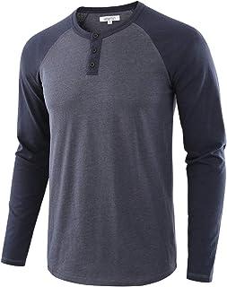31de567ef26a Vetemin Men s Casual Vintage Long Sleeve Raglan Henley Shirts Baseball T- Shirt
