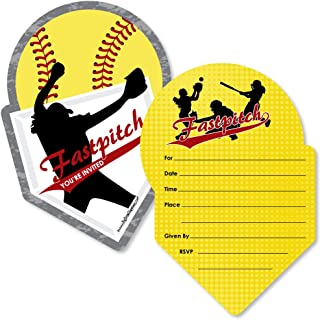 Grand Slam - Fastpitch Softball - Shaped Fill-In Invitations - Birthday Party or Baby Shower Invitation Cards with Envelopes - Set of 12