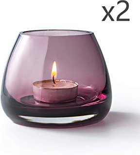 S1EGAN Hand-Blown Tealight Holder, Mouth-Blown Glass Candle Holders with Modren Design (Set of 2 Cerise)