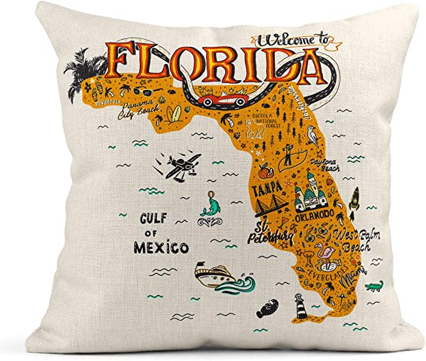 Emvency Decor Flax Throw Pillow Covers Case Cartoon Of Florida Map With Tourist Attractions Travel Miami Drawn Hand Orlando 18 X18 Square Linen Cases Cushion Cover One Side Print