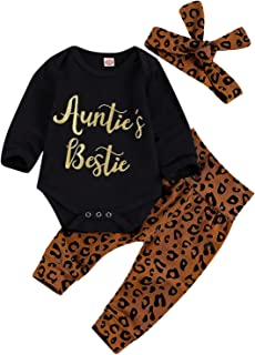 Newborn Baby Girls Leopard Clothes Sets Auntie's Bestie Romper Letter Long Sleeve Jumpsuit+Leopard Pants+Headband Outfit