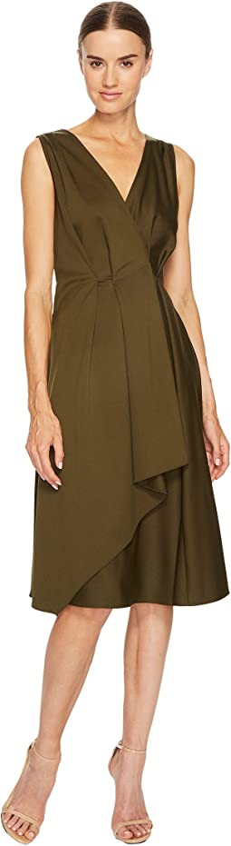 Jil Sander Navy - V-Neck Sleeveless Dress with Ruffle Detail