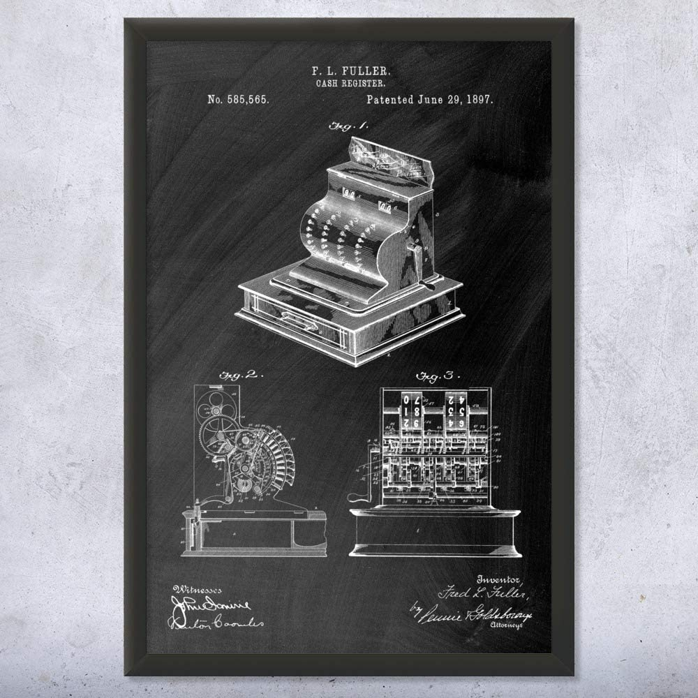 Patent Earth Framed Cash Register Store Dec Print Art Complete Free All stores are sold Shipping Business