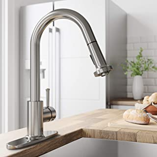 VIGO VG02002ST Harrison Commercial 15 Inch Single Handle Brass Kitchen Faucet with Pull-Down Sprayer and Deck Plate, Centerset Single Hole Kitchen Sink Faucet, 30 Inch Extendable Braided Nylon Hose, Swivel Head Design, Plated Seven Layer Stainless Steel Finish