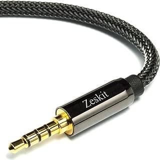 Zeskit 4ft Premium Aux Audio Cable, Nylon Braided, 3.5mm TRRS 4 Poles Plug (Male to Male)