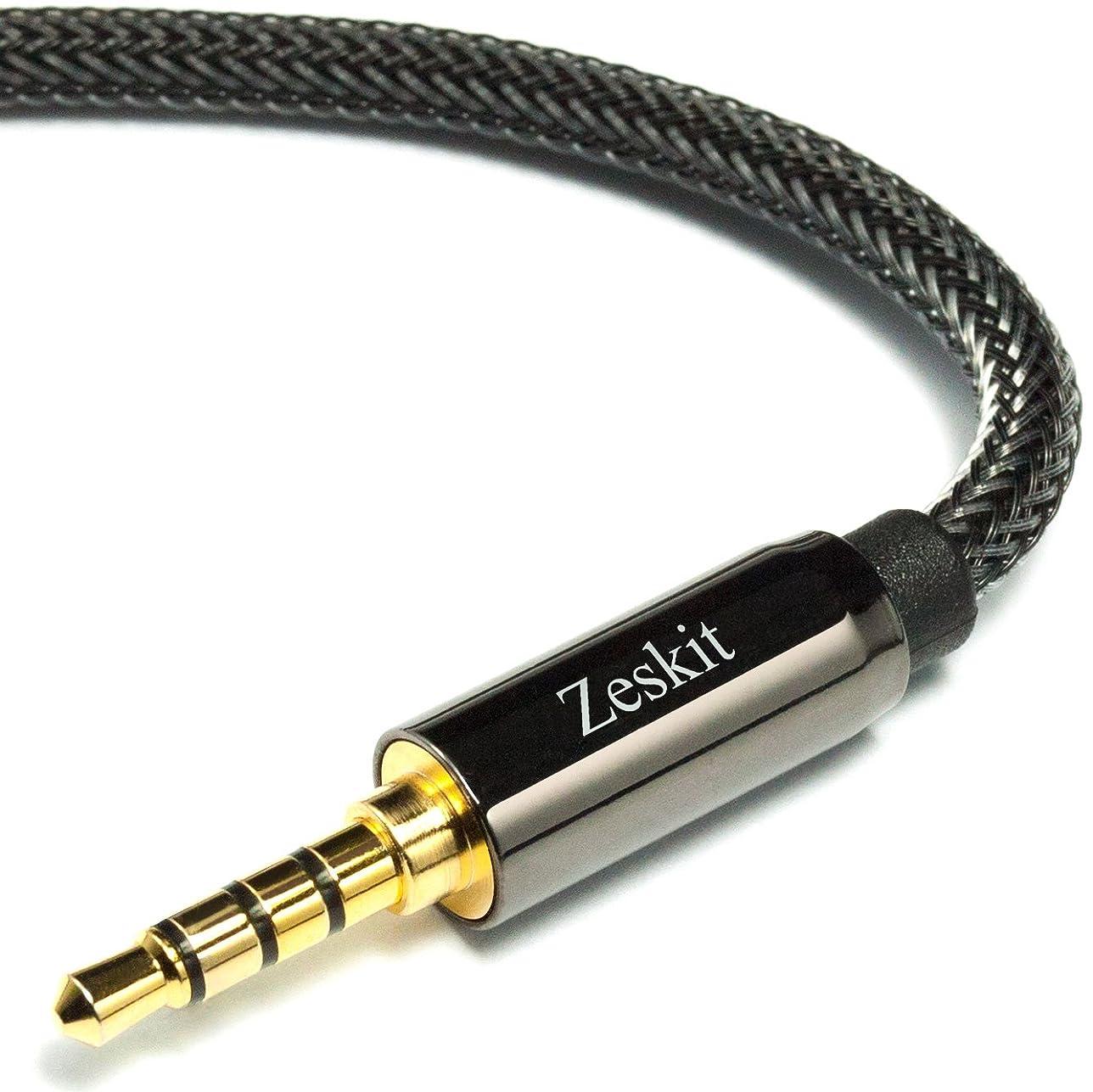 アイドルアクロバット定数Zeskit 4極3.5mmステレオオーディオケーブル 長さ1.2m ナイロンメッシュケーブル オス-オス