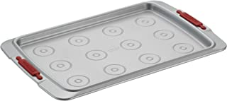 Cake Boss Deluxe Nonstick Bakeware 10-Inch x 15-Inch Cookie Pan with Drop Zones, Gray with Red Silicone Grips