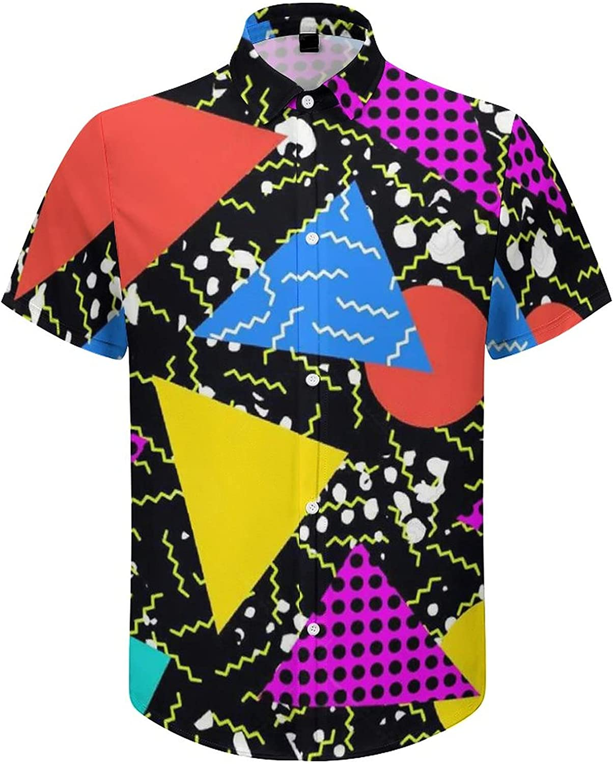 UOER Men's Button Down Shirt Retro Vintage 80s Memphis Funky Shortsleeve Summer Dress Shirts for Holiday