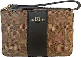 Coach Signature PVC Leather Corner Zip Wristlet F58035 - Khaki/Black, Small