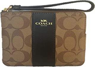 Coach Signature PVC Leather Corner Zip Wristlet F58035 - Khaki/Black