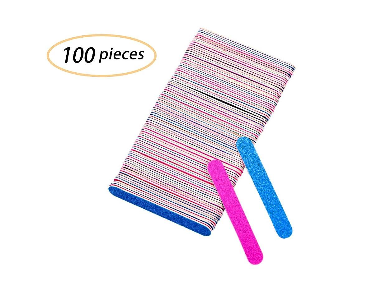 バンジージャンプインシュレータ手書きYolito 100pcs ネイルファイル エメリーボード 爪やすり使い捨て 爪磨き両面 ジェルネイル/自爪(180、240グリット)