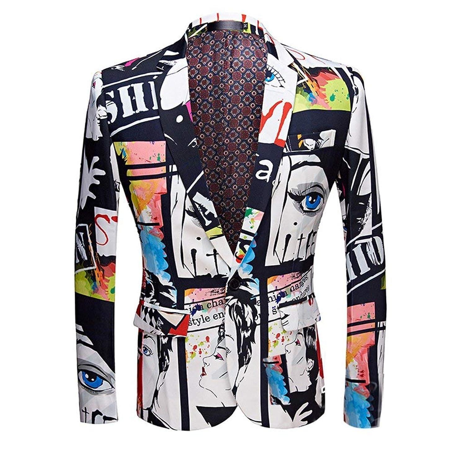 Mens Fashion Slim Fit Suit Jacket Casual Print Shiny One Button Blazer Coat
