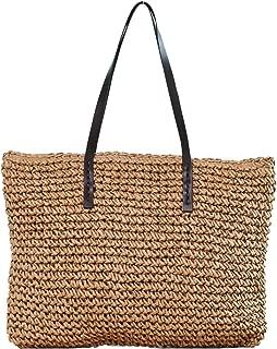 Vodiu Women's Classic Straw Handbag Summer Beach Shoulder Bag Bohemia New