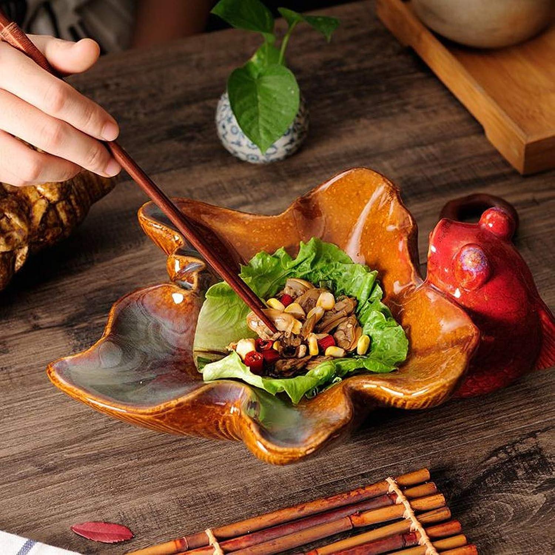 LXX-プレート ヴィンテージセラミックディープスーププレートフルーツサラダ形プレートレストランカフェ装飾ディナープレート (Color : A)