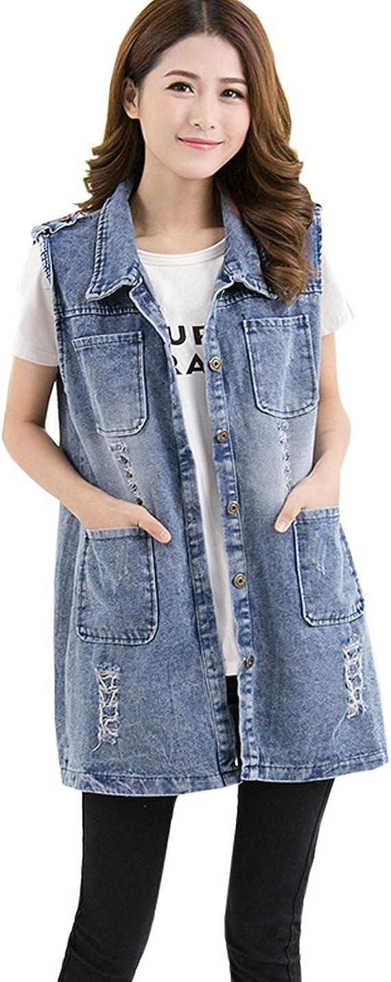 Flygo Women's Sleeveless Loose Button Down Ripped Denim Jean Vest Waistcoat Jacket