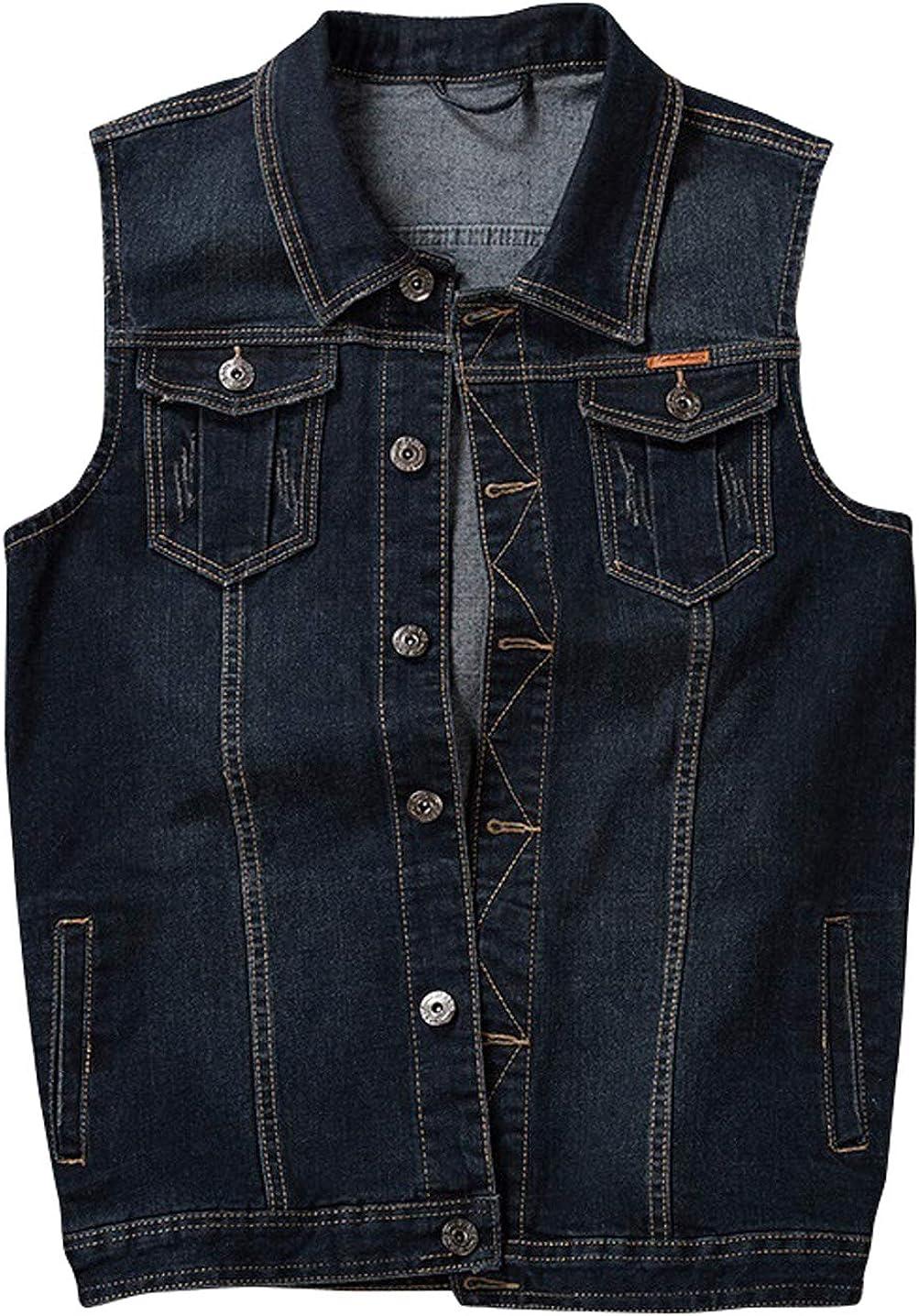 CHARTOU Men's Vintage Lapel Collar Button Down Sleeveless Denim Vest Jacket