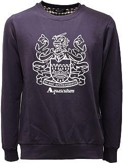 Aquascutum Large Crest Crew Neck Navy Sweatshirt