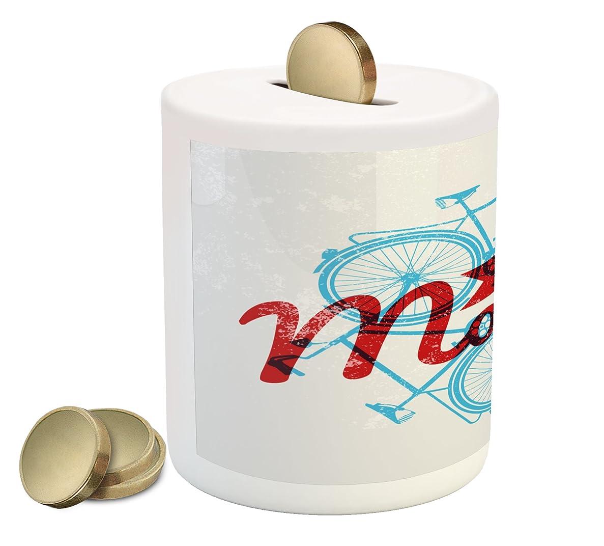 上にオーロック狂乱レトロPiggy Bank by Ambesonne , Keep It Moving Motivationalフレーズヒップスターライフスタイル自転車グランジ表示、印刷セラミックコイン銀行お金ボックスの保存の現金、スカイブルーレッドCoconut