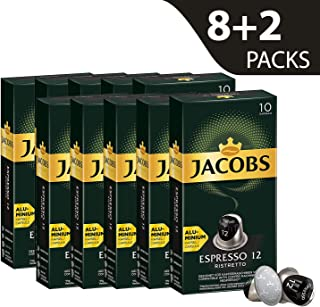 Jacobs Espresso Ristretto, Intensity 12, Nespresso Compatible Aluminum Coffee Capsules (Packs of 10)