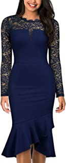 Knitee Women's Vintage V-Neck Floral Lace Long Sleeve Formal Business Evening Party Cocktail Sheath Dress