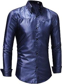 Robin Santiago Mens Dress Shits Men's Silk Shirts Male Black Red Satin Business Plaid Shirts Men Slim Fit Long Sleeve Party Shirts