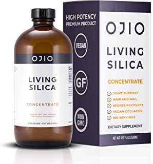 Ojio Living Silica Vegan Collagen Booster | Supports Healthy Collagen and Elastin Production for Glowing Skin | Hair | Nai...