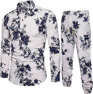Pingtr Men's Casual Shirt + Pants Set, Men's Casual Long Sleeve Shirt Business Slim Fit Shirt Print Blouse Top+Pants
