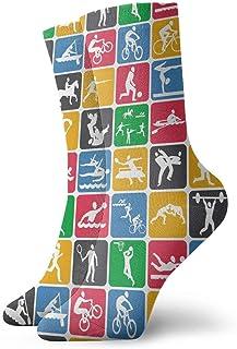 Luxury Calcetines de Deporte Sport Icons Pattern Unisex Socks, All-Season Sports Workout Training Ankle Socks Crew Socks