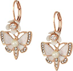 Rose Gold and White Butterfly Drop Earrings