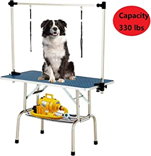 SUNCOO 48 Inch Large Portable Pet Dog Grooming Table Upgraded Professional Foldable Drying Trimming Table, Heavy Duty Stainless Steel Frame, Adjustable Arm/Noose/Mesh Tray, 330lbs Maximum Capacity