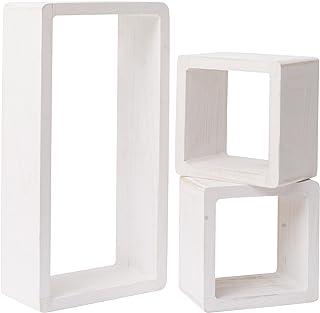 Rebecca Mobili Juego de 3 estantes, estantes para Colgar, 1 rectángulo 2 Cubos, Madera Blanca, Estilo Shabby, Muebles Sala de Estar- Medidas: 41 x 24 x 9 cm (AxANxF) - Art. RE4119
