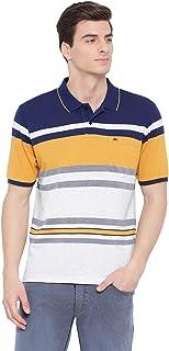 Monte Carlo Navy Blue Striped Polo Collar Tshirt