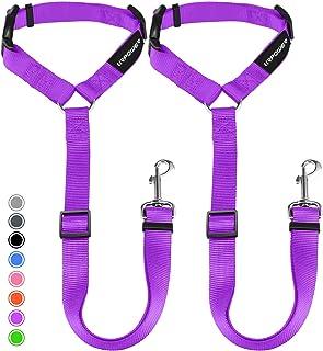 URPOWER Dog Seat Belt 2 Pack Safety Dog Car Seat Belt Strap Car Headrest Restraint Adjustable Vehicle Seatbelts Durable Ny...