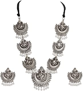 Zephyrr Lord Ganesha/Moon Design Necklace Earrings Set Ethnic Indian Women Jewelry