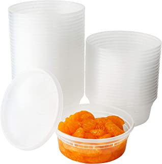 Deli Grade, BPA Free 8oz Plastic Containers with Lids, 48ct. Leakproof, Microwavable Portion Container for To-Go Orders, F...