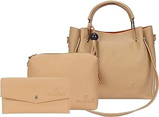 Brisfine Women's Handbag Cream Color Combo Pack of 3 (CMB3-HB_SLG_CLT_CRM)