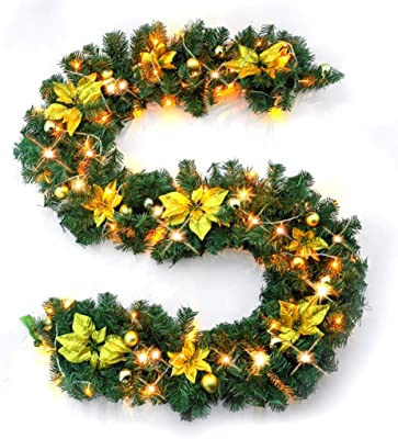 plastic gold 46.3/x 14.3/x 6.5/cm HEITMANN DECO 91640/decorative party garland length 120/cm artificial Christmas tree garland with LED Lights