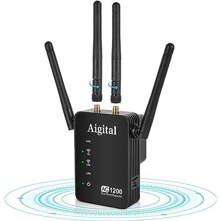 1200Mbps Extensor de Rango de Repetidor WiFi de Banda Dual, Amplificador Señal WiFi con 4 Antenas Externas, Puerto Ethernet, AC1200, Modo ...