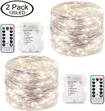 Lightingift 39 ft 120 Led Fairy Lights Battery Operated Waterproof String Lights for Bedroom Indoor (Cool White)