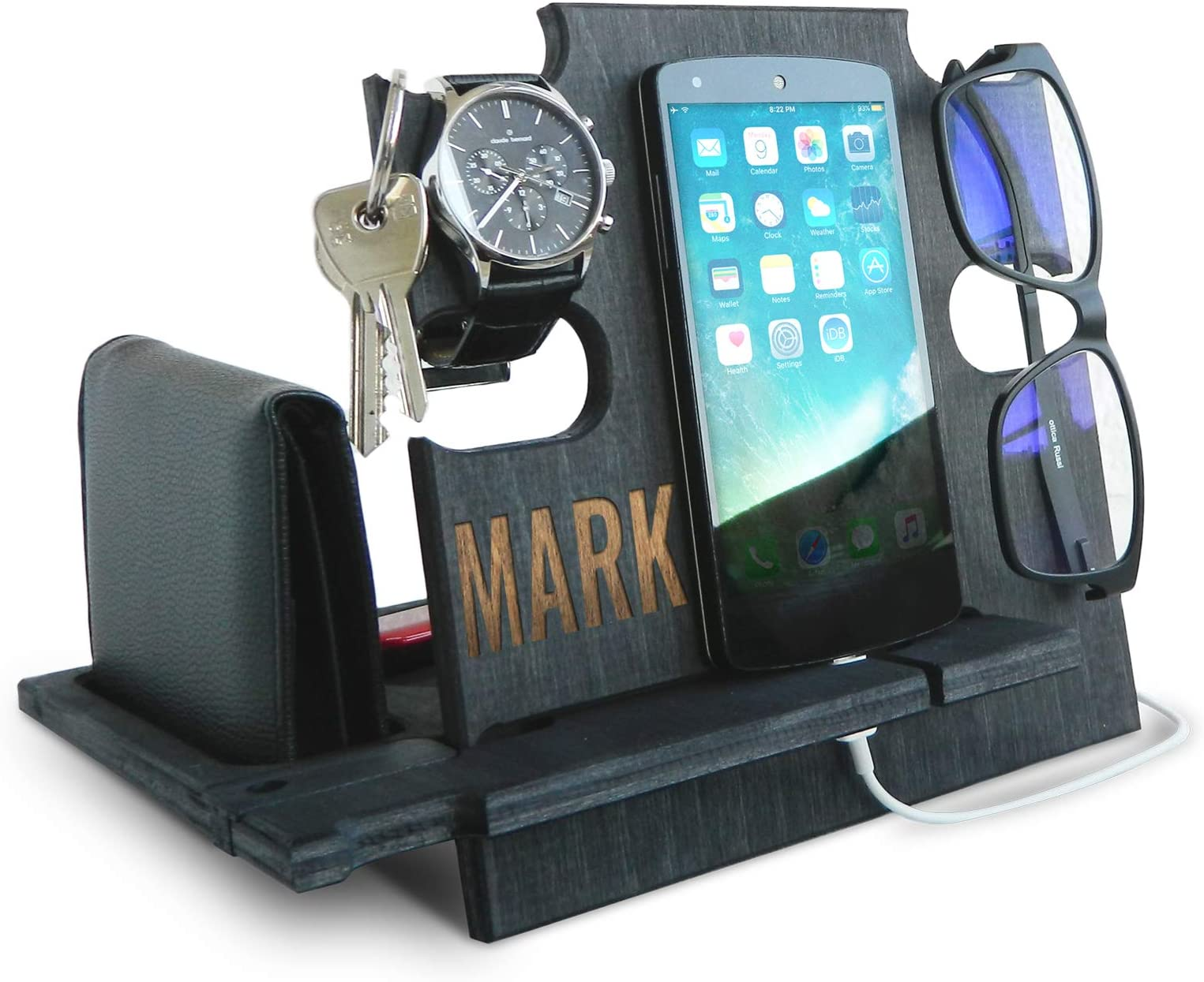 Personalized Gifts for Men, Cell Phone Stand, Wooden Desk Organizer, Phone Dock - Nightstand Charging Station, Phone Holder, Gift Ideas for Christmas, Birthday, Anniversary (Ebony)
