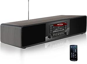 KEiiD Compact CD/MP3 Player Stereo Wooden Desktop Bluetooth Hi-Fi Speaker Portable Boombox Home Audio Component Music Shelf System with FM/AM Radio Digital Tuner Remote Control USB SD AUX,Soundbar