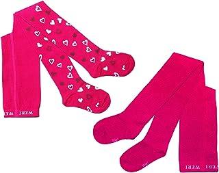 Weri Spezials, Leotardos infantiles para niñas, 2 pares de corazones y colores lisos, pack doble