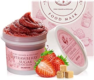 SKINFOOD Strawberry Sugar Food Mask 120g (4.23 oz.) - BHA Pore & Sebum Clearing Exfoliator Wash-off Mask with Melting Sugar, Hydrating and Nourishing, Shower-Proof Texture, Skin Safety Tested