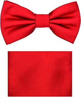 Children's Boys Solid Paisley Design Formal Pre-Tied Clip On BowTie Handkerchief Set For Suit or Tuxedo