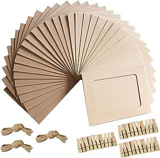 Cadre photo 4x6 en papier Kraft avec cadres photo en carton de 30 PCS avec des pinces en bois et de la ficelle en jute (brun)
